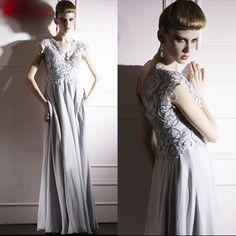 Designer Gray Grey Lace Cap Sleeve Fall Winter Evening Ball Gowns Dresses SKU-122206