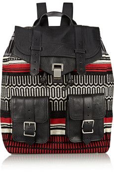 Proenza Schouler PS1 jacquard and leather backpack | NET-A-PORTER
