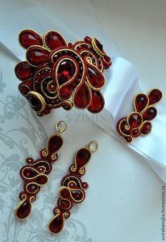 Купить Свадебный комплект Рубиновый - ярко-красный, браслет, свадебный комплект, серьги свадебные