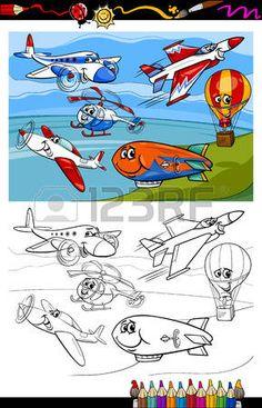 Coloring Book ou la page de bande dessin�e Illustration de couleur et noir et blanc Avions et a�ronefs Personnages groupe pour les enfants photo