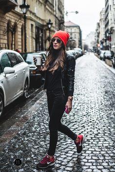 all black, black leather jacket, sneakers, beanie