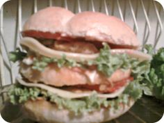 #homemade #burger #slow #food #chicken #lettuce #tomato #cheese #onion #mayo #ketchup