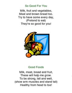 Nutrition Songs Poems and Fingerplays MayFoods Kids