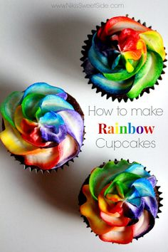 This is a short tutorial on how to make your own Rainbow Cupcakes! And pretty! Well, I& received?a lot of requests for the technique that I used on some cupcakes I had recentl. Cupcakes Design, Cupcakes Arc-en-ciel, Cheesecake Cupcakes, Yummy Cupcakes, Cupcake Cookies, Cheesecake Brownies, Fudge Brownies, Cupcake Frosting, Birthday Cupcakes