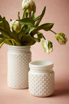 Milk Glass Hobnail Jars by BHLDN