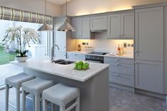 There is no question that designing a new kitchen layout for a large kitchen is much easier than for a small kitchen. A large kitchen provides a designer with adequate space to incorporate many convenient kitchen accessories such as wall ovens, raised. Grey Kitchen Cabinets, Small Cottage Kitchen, Home Kitchens, Kitchen Remodel Small, Kitchen Design, Modern Kitchen, New Kitchen Cabinets, Grey Kitchens, Kitchen Layout