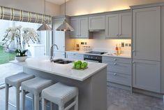 Kitchen - grey cabinets with white quartz worktop