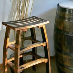 The Oak Barrel Company manufactures the unique Wine Stave Backless Bar Stools. These Wine Barrel Stave Stools are crafted from recently retired oak wine barrels, each one stool is unique with charm of it's own. Wine Barrel Bar Stools, Whiskey Barrel Bar, Wine Barrels, Bourbon Barrel Furniture, Wine Barrel Crafts, Barrel Projects, Wood Projects, Bar Stools With Backs, Designer Bar Stools