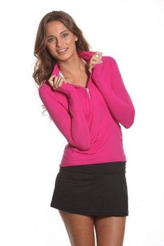 SlamGlam - BloqUV Mock Zip Passion Pink Long Sleeve Top.  Protect your skin while enjoying all the outdoor activities you love! BloqUV sun protective apparel!
