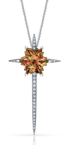 Stephen Webster. Couture Cross Pendant in18ct White Gold set with pave White Diamonds and central Princess cut Zultanite. Price from £14,000