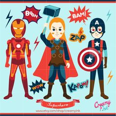 Avengers clip art featuring superhero such as Thor, Iron Man, Captain America which are perfect for kids party. #clipart #vector #design See more at CreamyInk.etsy.com