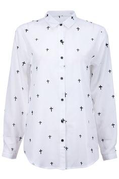 """Enbroidery """"Cross"""" White Shirt  $32.09 #Romwe"""