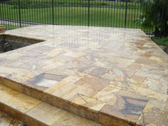 Beautiful travertine marble pavers work for a residential patio remodeling job. Bluestone Pavers, Travertine Pavers, Pool Service, Outdoor Furniture, Outdoor Decor, Remodeling, Marble, Commercial, Deck