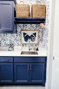 brighton keller laundry room blue and white print wall paper navy blue painted cabinets BM Blue Jet Laundry Room Remodel, Laundry Room Cabinets, Laundry Room Organization, Laundry Room Design, Diy Cabinets, Basement Laundry, Laundry Storage, White Laundry Rooms, Small Laundry