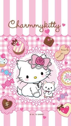 Charmmy Kitty and like OMG! get some yourself some pawtastic adorable cat apparel! Hello Kitty Art, Hello Kitty Tattoos, Hello Kitty Themes, Hello Kitty Birthday, Sanrio Hello Kitty, Sanrio Wallpaper, Wallpaper Stickers, Hello Kitty Wallpaper, Kawaii Wallpaper