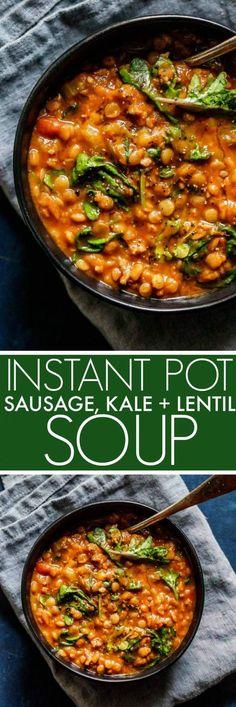 Kale Soup Recipes, Lentil Recipes, Healthy Recipes, Chilli Recipes, Sausage Recipes, Lentil Sausage Soup, Sausage And Kale Soup, Instant Pot Pressure Cooker, Pressure Cooker Recipes