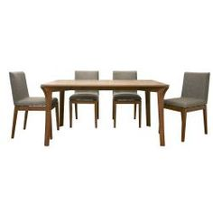 @Overstock.com - Mier Brown 5-piece Modern Dining Set - Subtle angles and rich neutral brown hues lend sophistication to this contemporary dining set. A table and four chairs are included in this furniture set.  http://www.overstock.com/Home-Garden/Mier-Brown-5-piece-Modern-Dining-Set/5583742/product.html?CID=214117 $1,007.99