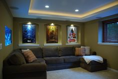 Small Home Theater - contemporary - media room - minneapolis - Level Design Studios-----LOVE THIS COUCH