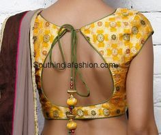 Simple Brocade Blouse with Contrast Piping ~ Celebrity Sarees, Designer Sarees, Bridal Sarees, Latest Blouse Designs 2014