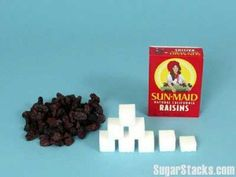 Be amazed at the amount of sugar in raisins. not but them thinking they are a healthy option. They are natures candy. it is better to eat a handful of grapes with their water and fibre. | ditchthecarbs.com