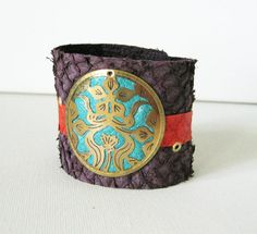 Purple Salmon Fish Leather Cuff with Red by ModernNaturals19