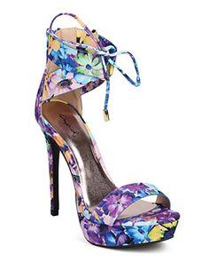 Qupid DI97 Women Floral Open Toe Lace Up Ankle Cuff Platform Stiletto Sandal - Blue (Size: 7.5)