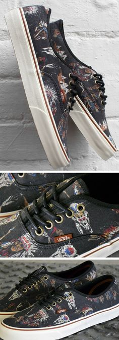 Vans Authentic Shoes // Tribal Leaders - Black // Native American Print Canvas Skate Sneakers // Chiefs and cow skulls