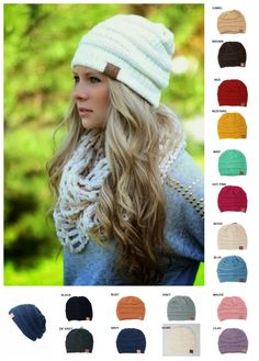 Slouchy C.C. Beanies. Black, white, rust orange, grey, etc. I want every color! I found these online for about $15-$18/each. Lots of people have these for sale. Impressions Boutique in Fayetteville (and online) have them for $14/each.