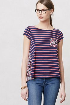 I love the colors EVERYWHARRR!! on the back and pocket. A fun way to do stripes with flair. Anthropologie $58