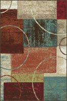 "Outstanding contemporary area rug defined by color blocking and accented by a circle motif. This purposeful abstract area rug can be used in a variety of settings. Rich colors of cranberry red, espresso brown, teal blue, ecru gold, mushroom taupe, and snowy ivory. Options include rounds and a three piece set for a coordinated look throughout the home. Machine made of soft polypropylene that is naturally stain-resistant and easy to maintain. The three piece set includes a 5' x 7', 1'8"" x 5'…"
