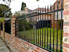 Privacy Fence - Brick w Wrought Iron - decorativefence dot com