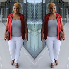"""Fashion says """"me too"""", style says """"only me."""" """"Create your own style . Let it be unique for yourself & yet identifiable for others. Sleeveless Blazer, Mode Plus, White Skinny Jeans, Curvy Fashion, Plus Size, Fashion Bloggers, Unique, Red, How To Wear"""