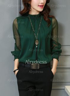 Solid Casual Polyester High Neckline Long Sleeve Blouses (1049170) @