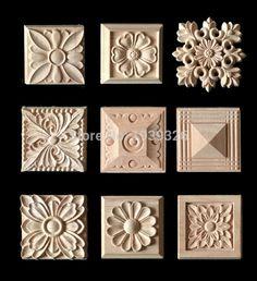 Wood carving applique 5pcs , Europe vintage nautical home decor ,Furniture cabinet door Solid wood crafts flower alphabet carve