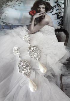 Pendientes de novias pendientes de la perla por QueenMeJewelryLLC