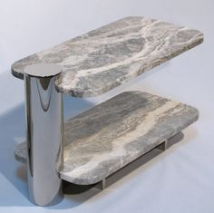 Cantilevered Marble and Polished Steel Side Tables by Brueton image 7