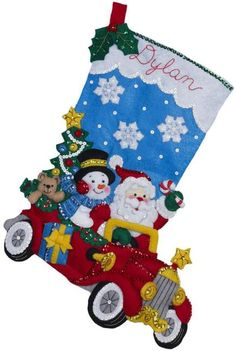 Bucilla Holiday Drive Christmas Stocking Felt Applique Kit. Decorate the hearth with this fun driving Santa and snowman! This felt applique Christmas stocking k