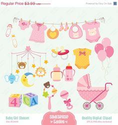Baby Girl Shower Digital Clipart