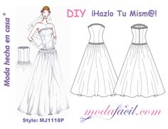 Download free patterns Wedding Dress available in 10 sizes to put individual lists drawn on the fabric and cut