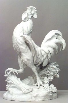 "Nineteenth century sculpture composed of white porcelain cast in the form of a life-sized rooster standing atop a rocky base beside bundles of wheat and clusters of grapes. The work is dated 1883 and features a signature which may read ""I. Ceramic Rooster, Ceramic Animals, Sculptures For Sale, Animal Sculptures, Metal Sculptures, Deco Marine, Porcelain Dolls For Sale, Rooster Decor, Art Sculpture"