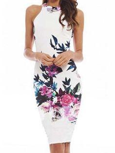 White Retro Floral Cut Away Midi Bodycon Dress | Choies