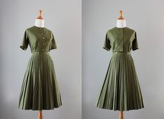 Vintage 50s Dress / 1950s Olive Green Wrap Dress / by HolliePoint, $68.00
