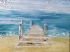 """Купить """"Утро на причале"""", картина из стекла - море, чайка, причал, морской пейзаж, фьюзинг картина"""