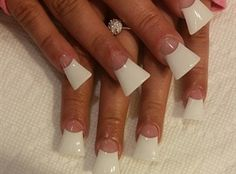 Classic Flared Tip French by CrystalNailsAsh from Nail Art Gallery Toe Nail Designs, Acrylic Nail Designs, Acrylic Nails, Duck Feet Nails, Toe Nails, Nail Nail, Duck Flare Nails, Mani Pedi, Manicure