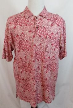 ORVIS Short Sleeve Cotton and Linen Floral Print Polo Casual Shirt Pink Large