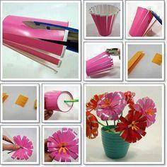 plastic cup flowers  www.revistaartesanato.com.br