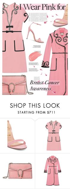 """Who Do You Wear Pink For?"" by cocochanel10 ❤ liked on Polyvore featuring Gucci, Pink, breastcancerawareness and guccilover"