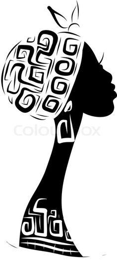 Stock vector of 'Female head silhouette for your design, ethnic ornament' Black Women Art, Black Art, Doodle Art Drawing, Art Drawings, African Art Paintings, Africa Art, Silhouette Art, Button Art, Mandala Art