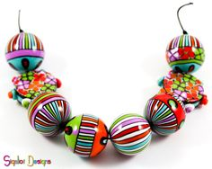 Crazy Carnival Handmade Polymer clay beads mix of by Sigaliot, $53.00
