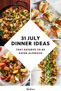 Presenting 31 July dinner ideas for an easy, seasonal meal every night, so you can get back to the important stuff (unicorn-shaped pool float, we're looking at you). #dinner #food #recipes Easy Summer Dinners, Dinner Recipes Easy Quick, Delicious Dinner Recipes, Easy Healthy Recipes, Quick Easy Meals, Summer Recipes, Meat Recipes, Healthy Eats, Easy Meal Plans